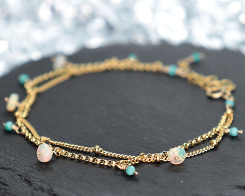 Ethiopian Opal and Turquoise Two Strand Chain Bracelet