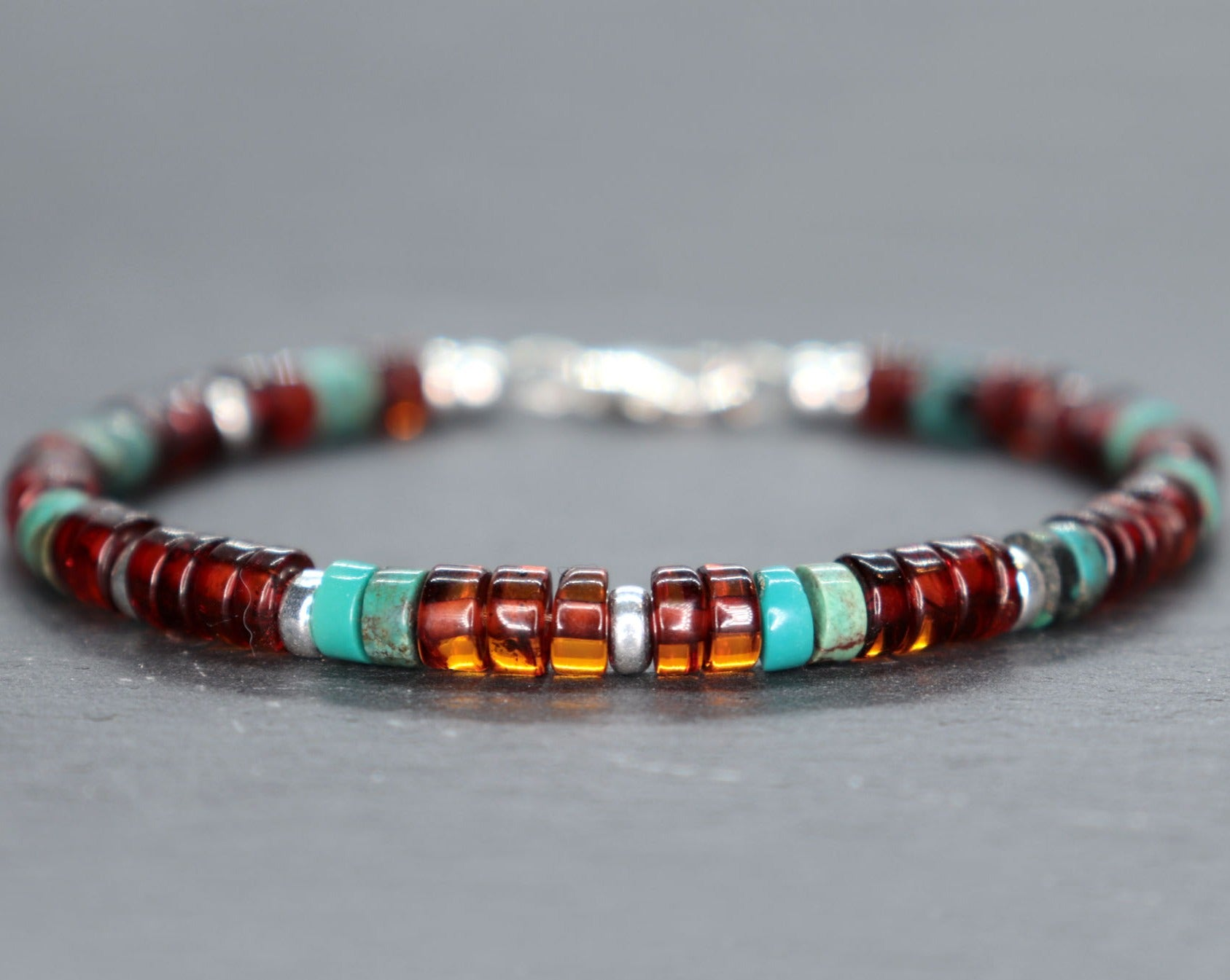 Baltic Amber and Turquoise Unisex Bracelet