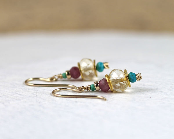 Citrine, Pink Tourmaline and Turquoise Drop Earrings