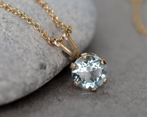 Faceted Blue Aquamarine Necklace, March Birthstone