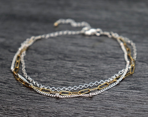 Three Strand Mixed Metal Chain Bracelet