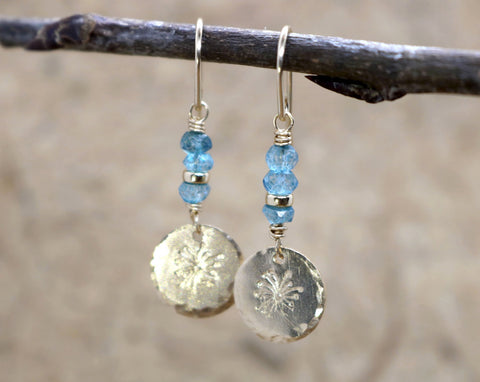 """A Wish"" Dandelion Flower Disc and London Blue Topaz Earrings"