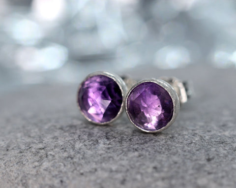 Rose Cut African Amethyst Stud Earrings