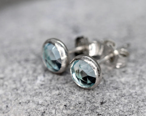 Rose Cut Aquamarine Stud Earrings