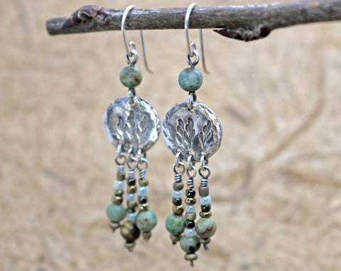 Stamped Leaf Boho Style Earrings with African Turquoise