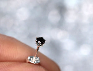 Black Diamond Stud Earrings, Single or Pair