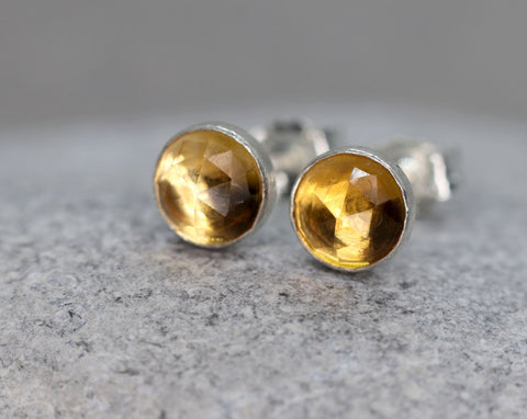 Rose Cut Faceted Citrine Stud Earrings