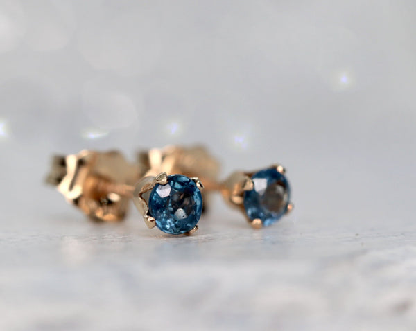 Cornflower Blue Sapphire Stud Earrings