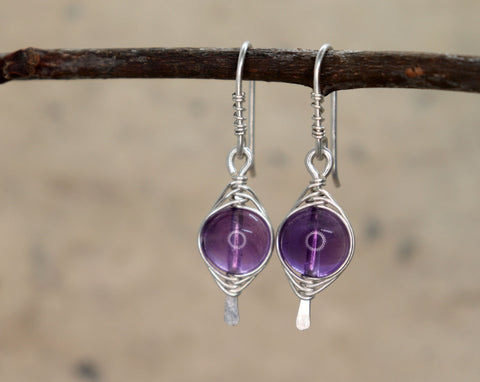 Amethyst Herringbone Earrings