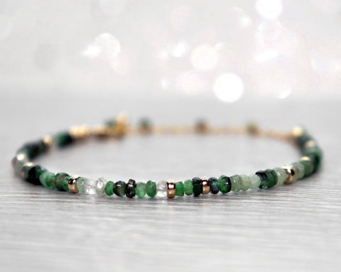 Emerald Bracelet, May Birthstone Bracelet