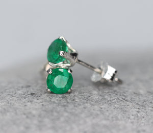 Faceted Emerald Stud Earrings