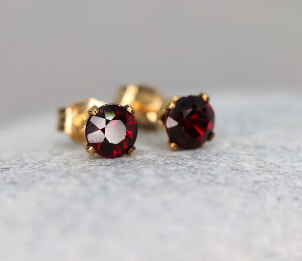 Faceted Garnet Stud Earrings
