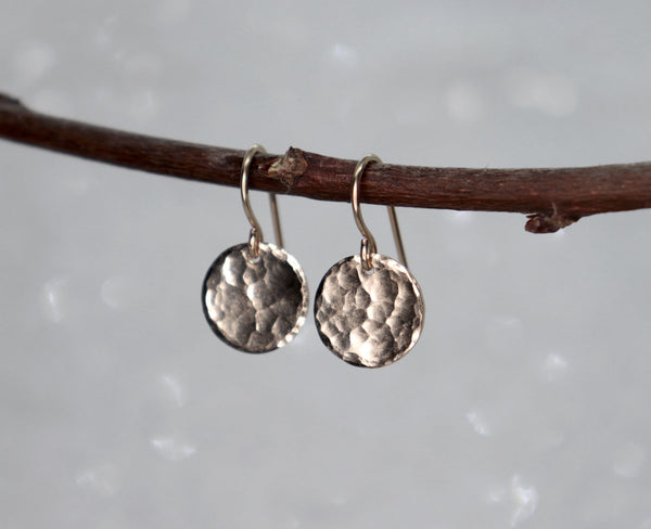 Small Hammered Gold Disc / Coin Earrings