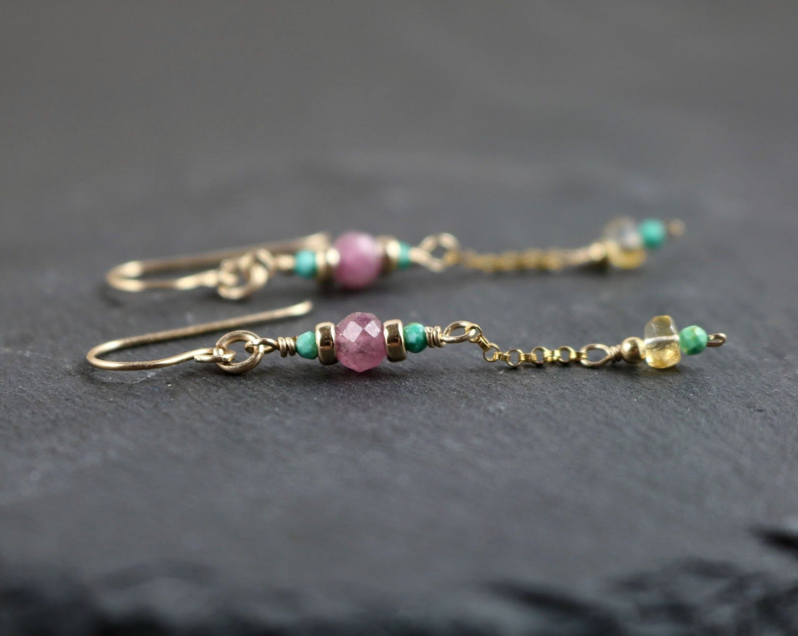 Dainty Multigemstone Dangle Earrings, Pink Tourmaline, Citrine and Turquoise