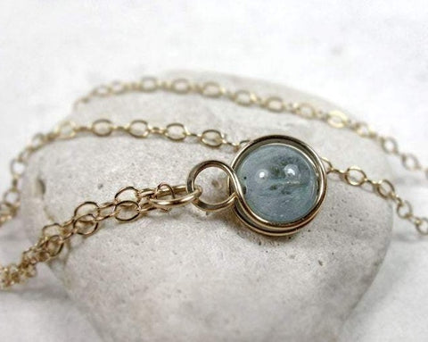 Minimal Aquamarine Wire Wrapped Pendant