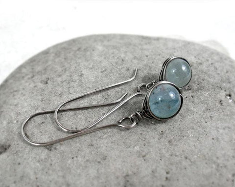 Long Wire Wrapped Aquamarine Earrings