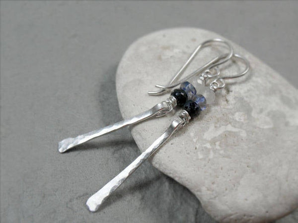 Ombre Sapphire Hammered Bar Earrings