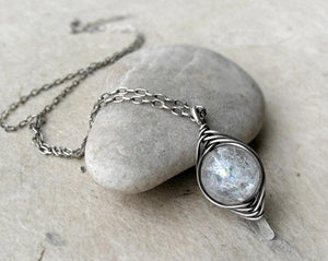 Crystal Quartz Herringbone Wrap Pendant