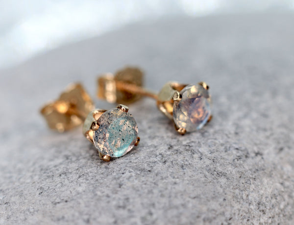 Faceted Labradorite Stud Earrings, Iridescent Stone