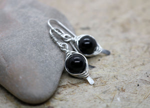 Golden Obsidian Herringbone Earrings