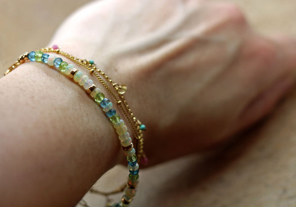 Ethiopian Opal, Peridot and London Blue Topaz Bracelet in Gold Filled
