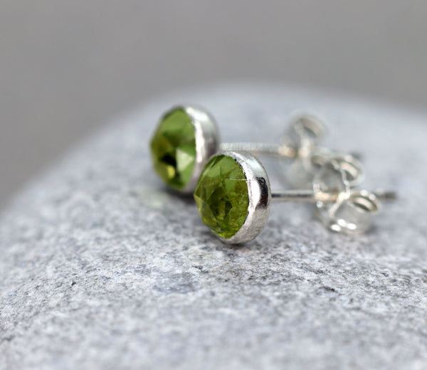 Rose Cut Faceted Peridot Stud Earrings