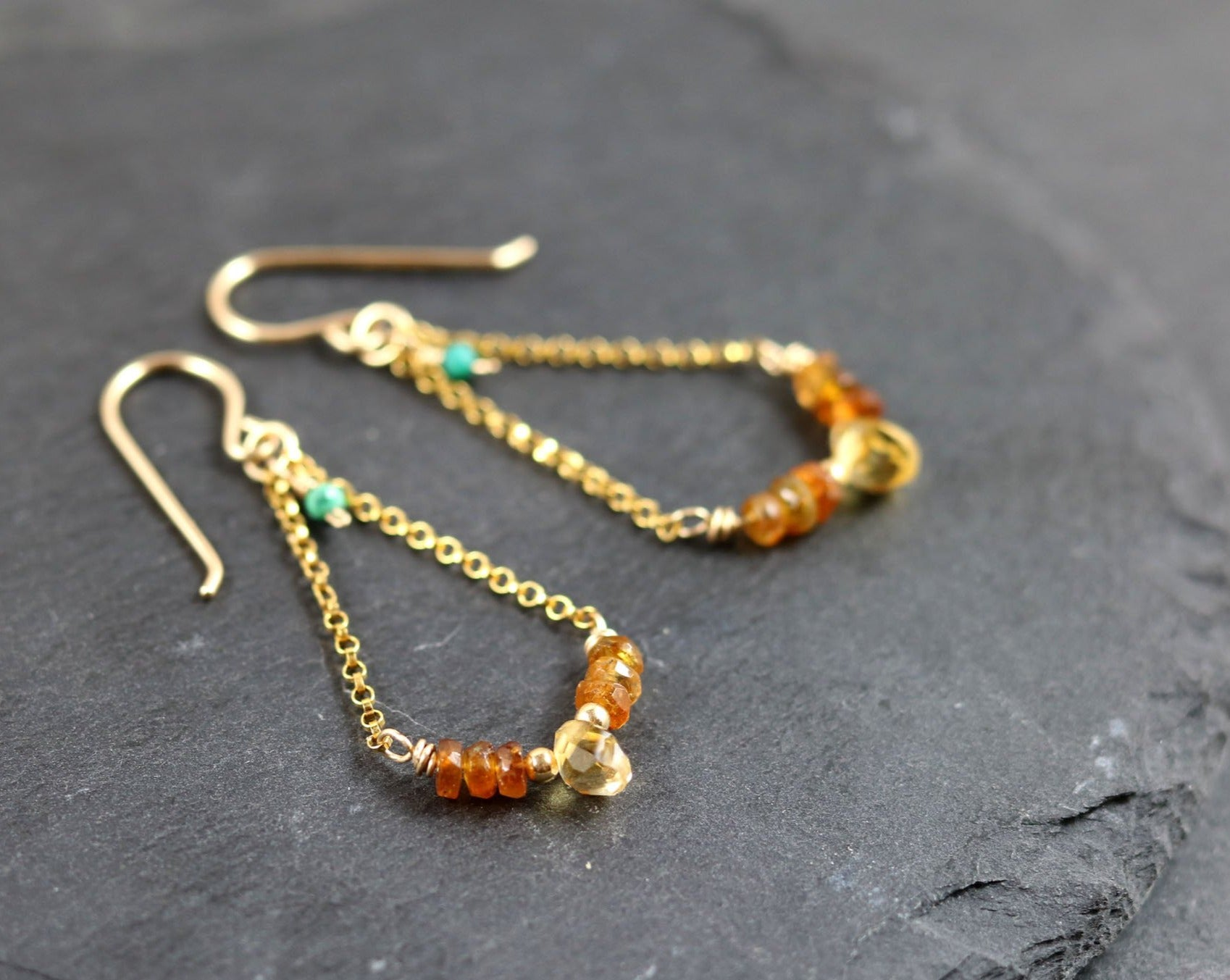 Dangle Earrings with Petro Tourmaline and Citrine