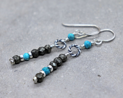 Turquoise and Pyrite Boho Earrings