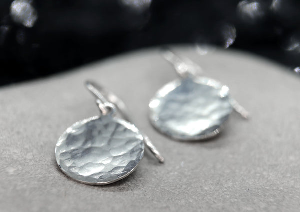 Hammered Sterling Silver Coin / Disc Earrings