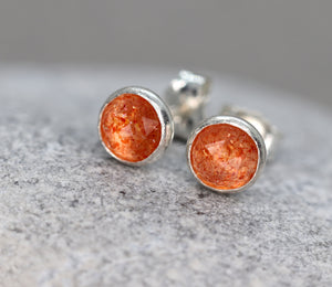 Rose Cut Sunstone Stud Earrings