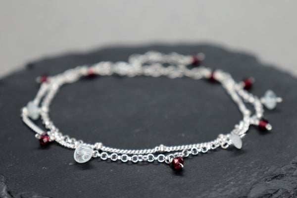 Aquamarine and Garnet Two Strand Chain Bracelet