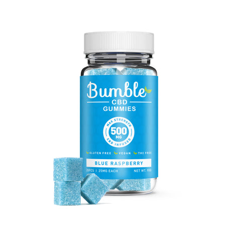 Bumble CBD Blue Raspberry Gummies 500MG 20 Pcs Jar