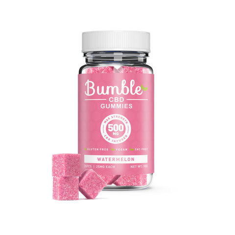 Bumble CBD Watermelon Gummies 500MG 20 Pcs Jar