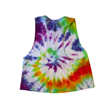 Load image into Gallery viewer, Rainbow Tie-dye Cropped Racer-back Tank