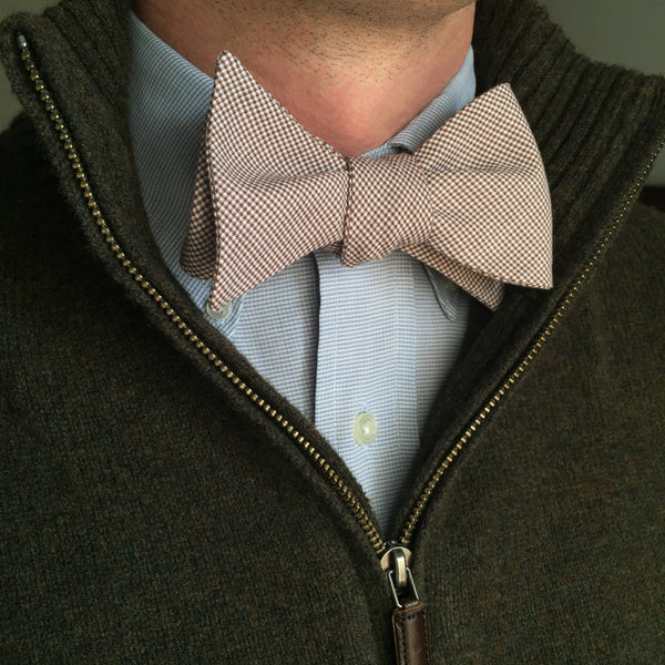 The Good South Brown Microcheck Bow Tie