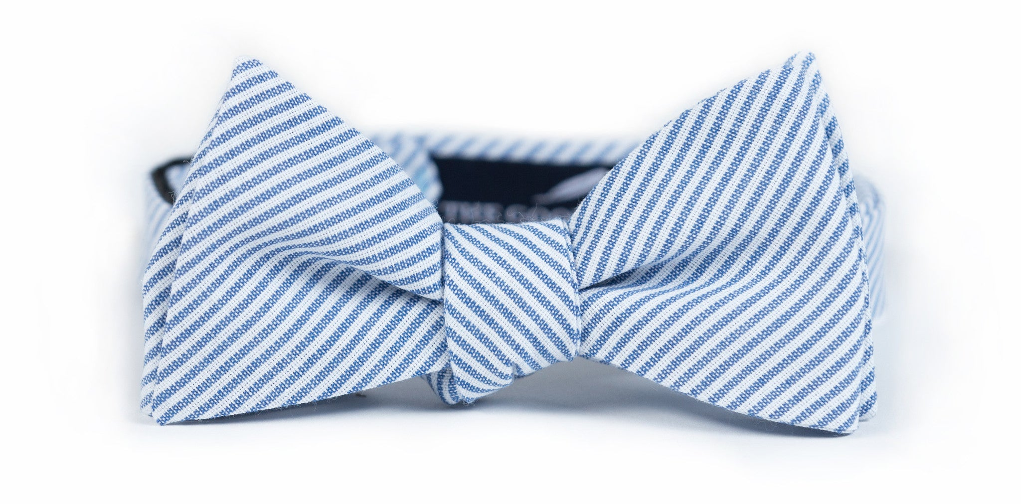 Blue + White Ticking Stripe Bow Tie