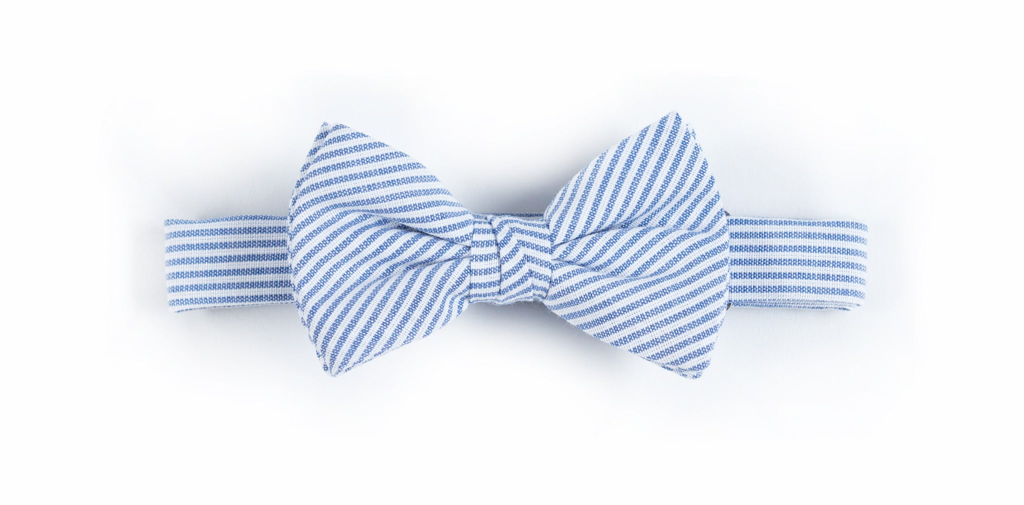 Kids Blue + White Ticking Stripe Bow Tie