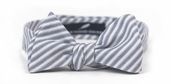 Gray Stripe Bow Tie
