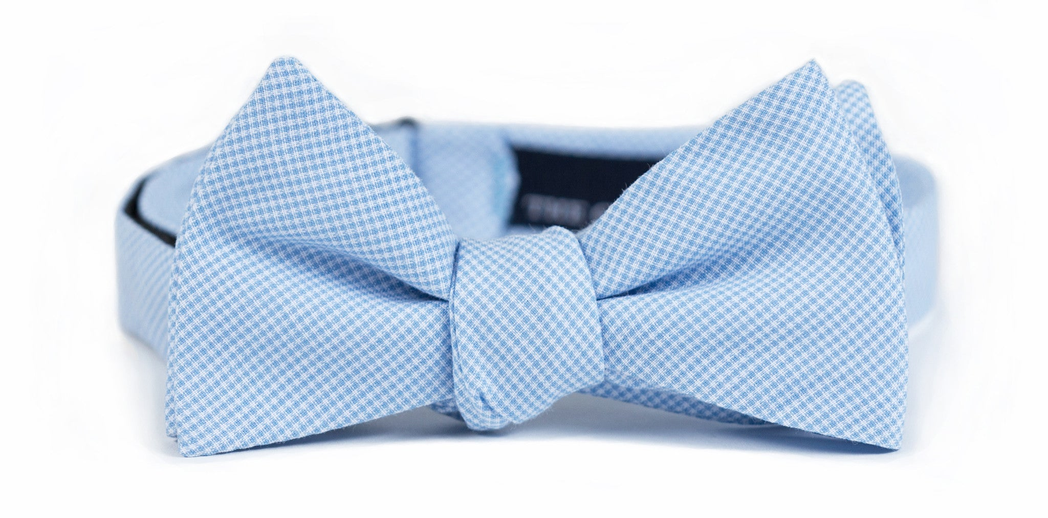 Powder Blue Microcheck Bow Tie