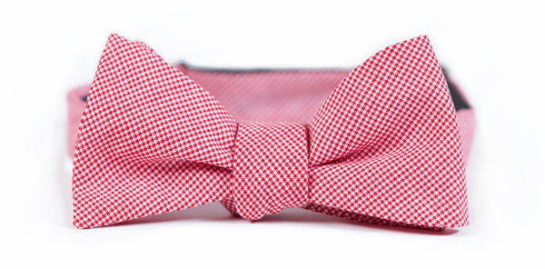Red Microcheck Bow Tie