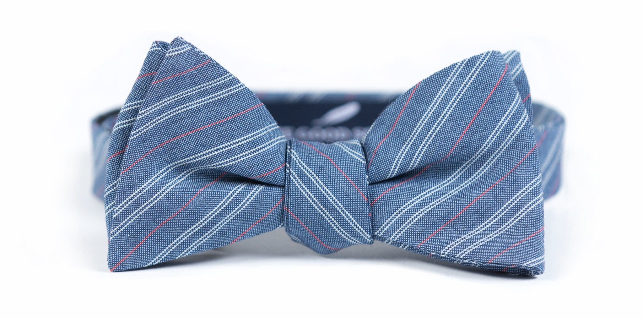 Red + White + Blue Pinstripe Bow Tie