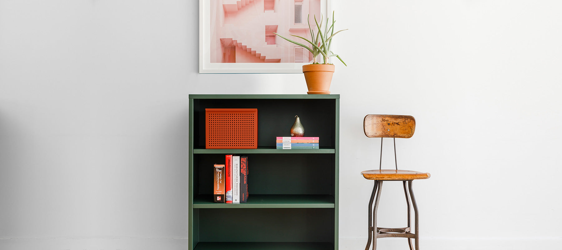 Heartwork Building Block bookcase in deep green in home setting