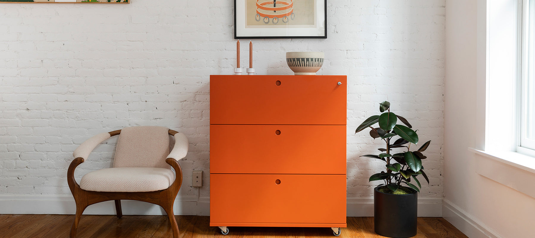 Heartwork Lateral File cabinet in warm orange in home setting