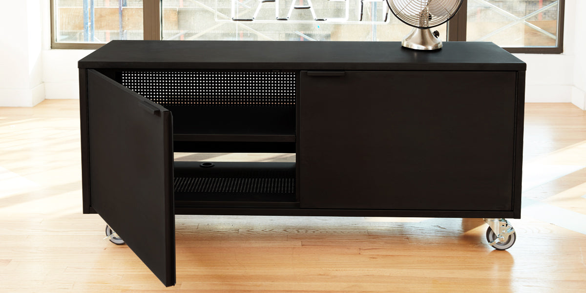 Heartwork Active Duty A/V credenza in black showing the open perforated back