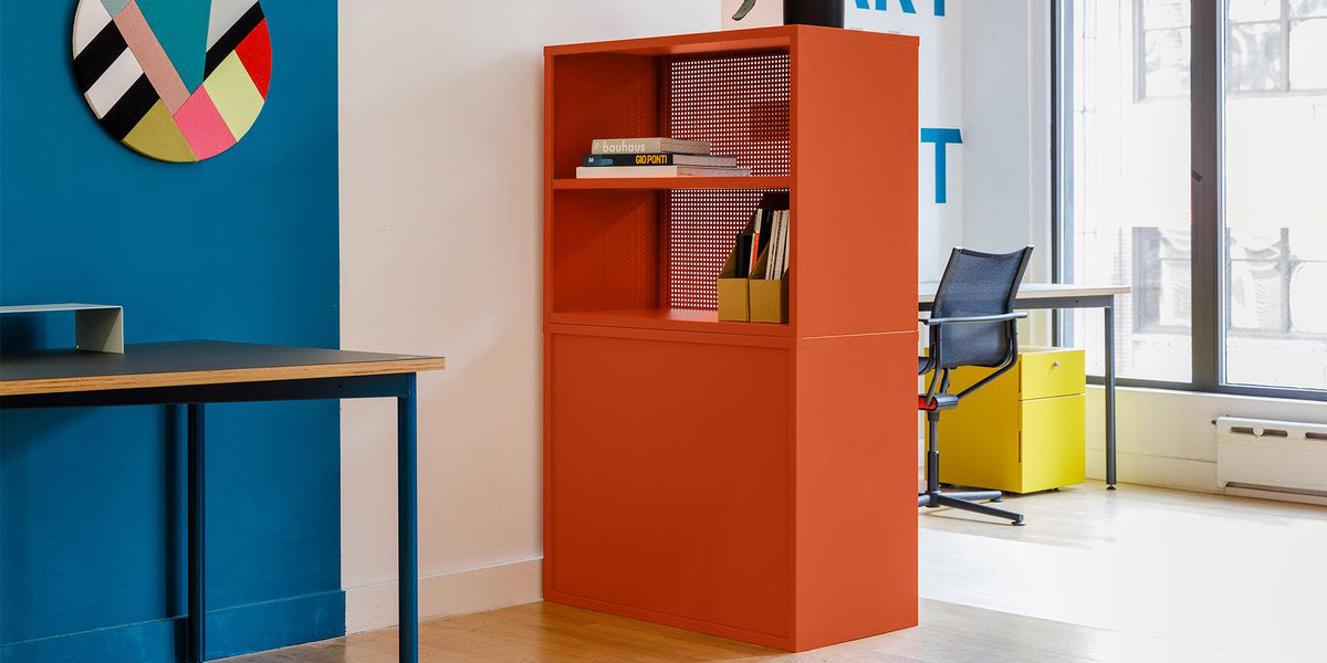 Heartwork Active Duty Bookcases in orange with books and file holders