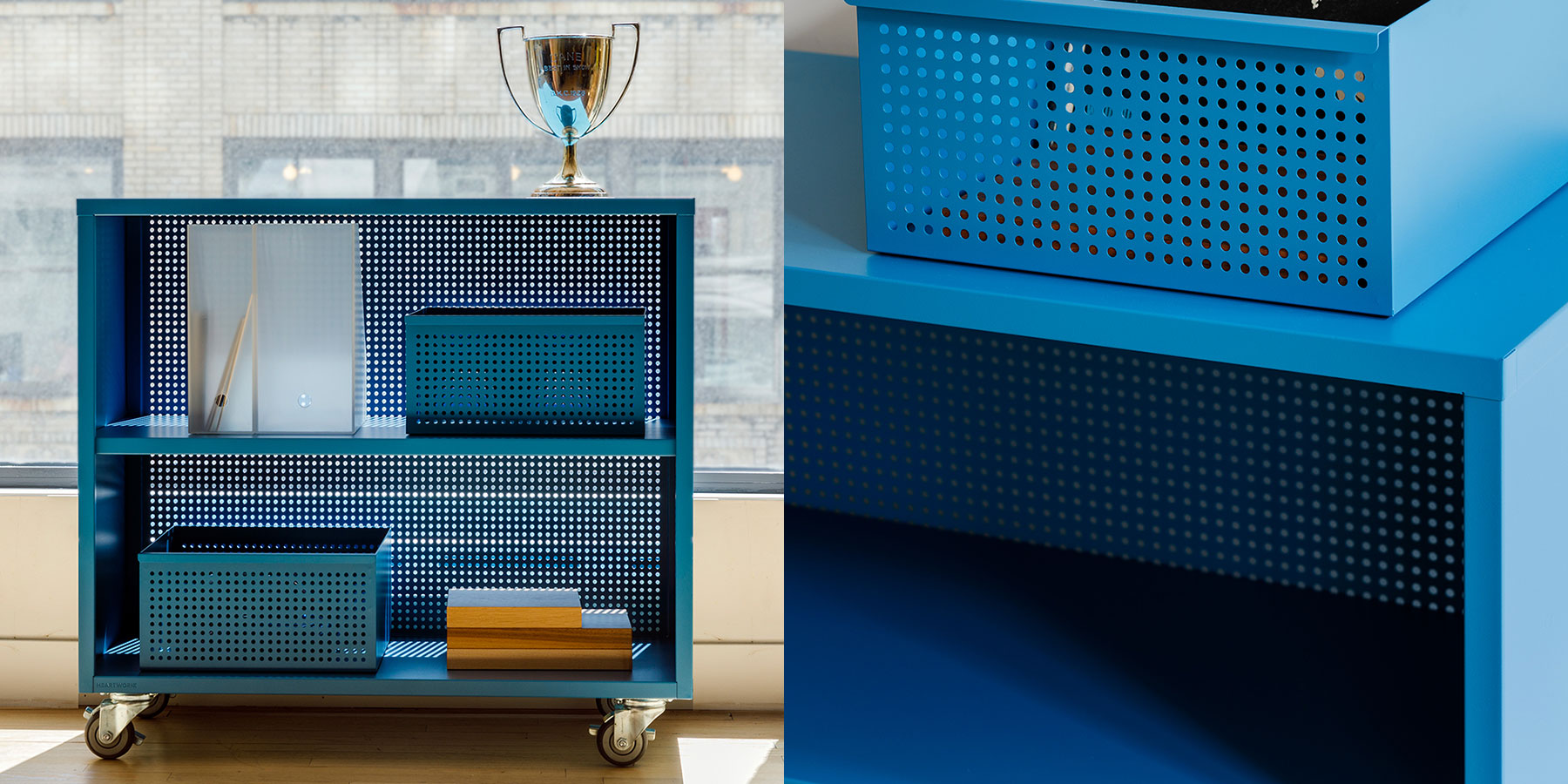 Heartwork Active Duty Bookcase with perforated back in teal and blue with baskets