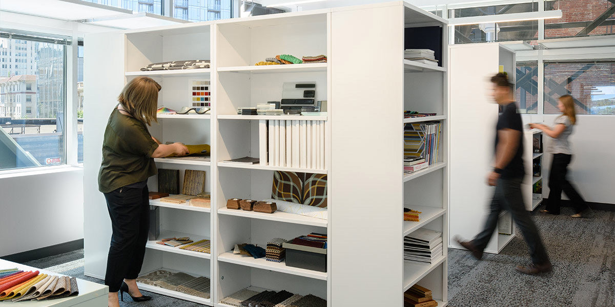Heartwork Building Block bookcases in white used to separate spaces in office setting