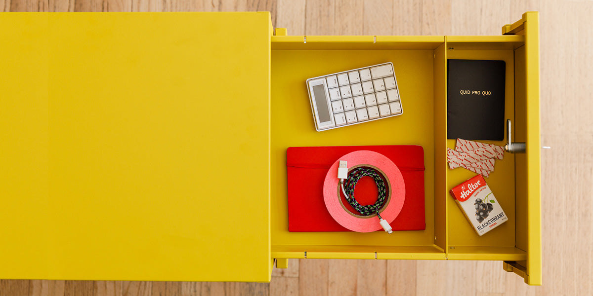 Heartwork Building Block pedestal in yellow with open drawers and objects