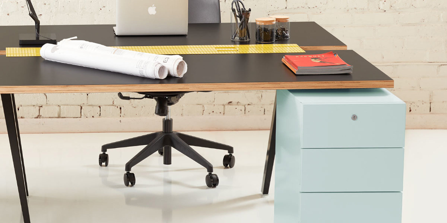 Heartwork Building Block pedestal in fresh mint under desk in office setting