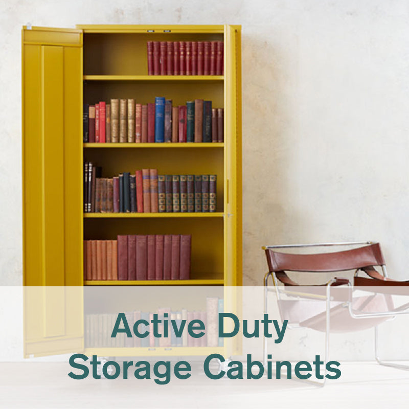 Heartwork Active Duty tall storage cabinet in warm yellow with books in home setting